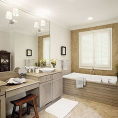 Design a Modern Tub Surround Need a crisp and sophisticated tub surround? Enclose a bathtub with wood for an innovative, freestanding option. A sturdy, low wooden box was designed for housing this tub.