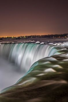 Niagara Falls by night... this is a long exposure shot of the Canadian side of the falls... #longexposure #NiagaraFalls #Niagara #Ontario #Canada