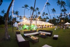 Lights aglow at Lanikuhonua.  To see more of our awesome work, click here:  http://mangomuseevents.com/wedding_gallery