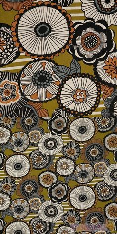 strong olive green oxford cotton fabric with large circle-shaped flowers in black, cream, orange, grey etc. and white stripes patches on background, Material: 100% cotton #Cotton #Oxford #Flower #Leaf #Plants #JapaneseFabrics