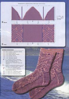 """Photo from album """"Verena Stricken - spezial on Yandex. Fair Isle Knitting, Knitting Socks, Hand Knitting, Knitting Patterns, Knit Shoes, Sock Shoes, Knitted Slippers, Knitted Bags, Crochet Socks Pattern"""
