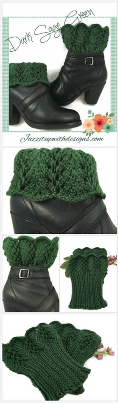 Ladies Boot Cuffs Dark Sage Green Lace Caron Simply Soft | NancysKnotsLace https://nancysknotsandlace.indiemade.com/product/ladies-boot-cuffs-dark-sage-green-lace-caron-simply-soft