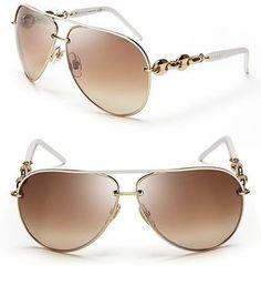 ShopStyle: Gucci Chain Link Aviator Sunglasses