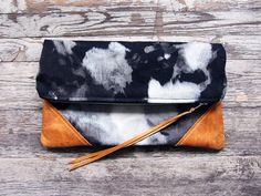 The Constellation leather and canvas clutch by scoutandcatalogue $68.00