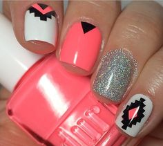 Peach aztec nails