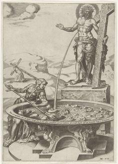 Dirck Volckertsz Coornhert   Geloof zuivert de harten van de mens met het bloed van Christus, Dirck Volckertsz Coornhert, 1557 - 1561   Christus vult het bassin van de genadebron met bloed uit zijn zijwonde. In het bassin drijven de harten van de mens. De personificatie van het Geloof reinigt met een kruisvormige bezem de harten met het bloed van Christus. Sommige harten zijn nog niet schoongeveegd en bevatten de symbolen van de hoofdzonden. Op de achtergrond Christus met het kruis op de…