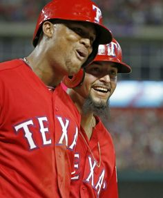 Texas Rangers third baseman Adrian Beltre (29) and second baseman Rougned Odor celebrate after scoring runs on Elvis Andrus' triple during the 5th inning against Boston Red Sox at Globe Life Park in Arlington, Texas, Saturday, June 25, 2016. (Jae S. Lee/The Dallas Morning News) Texas Rangers Players, Mlb Texas Rangers, Rangers Baseball, Texas Baseball, Baseball Wall, Sports Baseball, Sports Teams, Dallas Cowboys, Rougned Odor