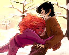 Nico and Hazel hugs