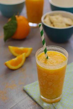Sumo de laranja com manga e gengibre