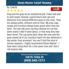 Greg and his guys do an exceptional job. I have had wall to wall carpet cleaned,...