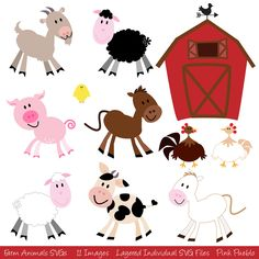 Farm Animals SVGs, Barnyard Animals Cutting Templates - Commercial and Personal Use. $8.00, via Etsy.