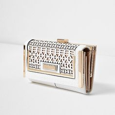 White laser cut metallic clip top purse - purses - bags / purses - women