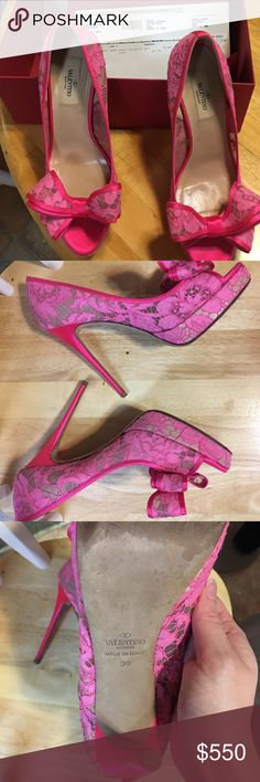 Valentino lace couture bow hot pink peep toe pump Size 39. Excellent condition; only worn once. Beautiful shoes that have been well cared for. Comes with original box, receipt and dust bag. Valentino Garavani Shoes Heels