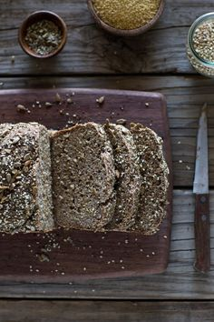 A foolproof gluten-free and vegan breakfast bread recipe made with millet, buckwheat groats, and psyllium husk. Millet Bread, Buckwheat Bread, Buckwheat Recipes, Vegan Bread, Vegan Gluten Free, Gluten Free Recipes, Vegan Recipes, Flour Recipes, Drink Recipes