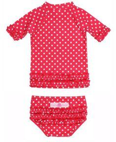 Ruffled and protected in the water - Red Polka Dot Ruffled Rash Guard Bikini