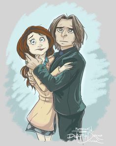 "'Yes I'll Protect You' - Rumple protects Belle from the falling lamp post in 4.7 ""The Snow Queen"" - RumBelle art by delintthedarkone on Tumblr"