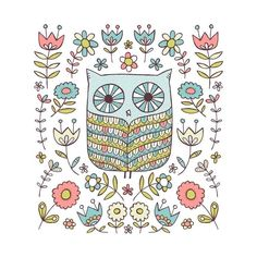 Owl-limited edition screen print 12 x 12. $30.00, via Etsy.