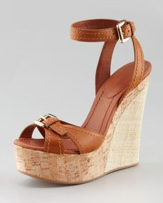 28bf9e3123923 Giorgio Armani Raffia Cork Wedge Sandal Cognac in Brown (cognac)