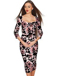 Pink Bodycon 3/4 Sleeve Printed Square Neck Midi Dress