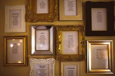 Wedding table plan consisting of individual frames with lists for each table | Photography by http://www.joseph-hall.com/