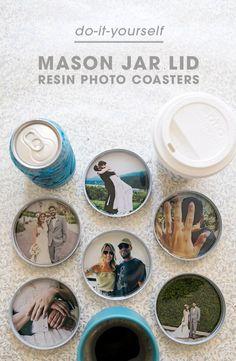 weihnachtsgeschenke selbst gemacht, untersetzer mit fotos, tasse kaffee
