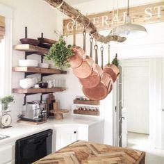 Our Vintage Home Love on Instagram   Driftwood Pot Rack   Farmhouse Kitchen
