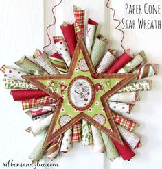 Paper Cone Star Wreath Paper Cone Star Wreath Tutorial using Echo Park Christmas paper. Cone Star Wreath Tutorial using Echo Park Christmas paper. Noel Christmas, Christmas Paper, Rustic Christmas, Christmas Projects, Holiday Crafts, Simple Christmas, All Things Christmas, Christmas Wreaths, Christmas Ornaments