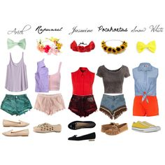 Find images and videos about disney, ariel and rapunzel on We Heart It - the app to get lost in what you love. Disney World Outfits, Disney Bound Outfits Casual, Disney Character Outfits, Cute Disney Outfits, Disney Themed Outfits, Disney Dress Up, Character Inspired Outfits, Cute Outfits, Modern Disney Outfits