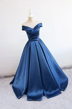 Blue v neck satin long prom dress efe0842ecca9