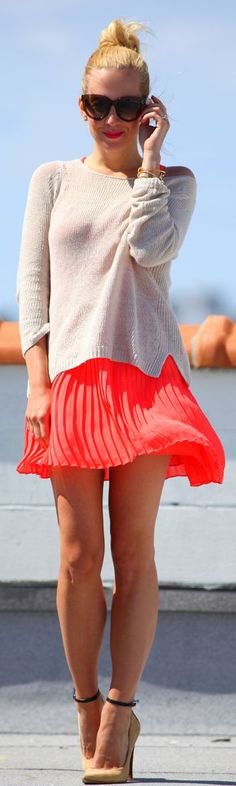 Hot Pink Pleated Skirt Fall Inspo by Brooklyn Blonde