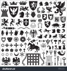 stock-vector-heraldic-symbols-and-elements-64256950.jpg 1,500×1,600ピクセル