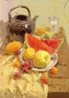 Artist Unknown ~ My PIN pick of the day - Oil Paintings Fruit Painting, Gouache Painting, Beautiful Drawings, Beautiful Paintings, Painting Lessons, Art Lessons, Still Life Oil Painting, Pastel, Guache