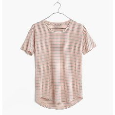 MADEWELL Whisper Cotton Crewneck Tee in Sacramento Stripe ($32) ❤ liked on Polyvore featuring tops, t-shirts, thai chili, white tee, crew tee, white stripes t shirt, stripe t shirt and white top