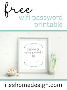 Free wifi password printable for your home! Awesome to display in a guest room or living for your guests!