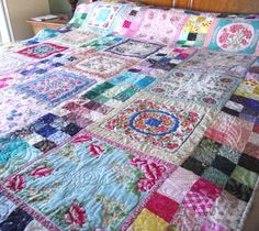 Antique hanky quilt on Etsy -- really love the boho look.
