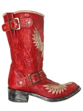 40MM LEATHER EAGLE BUCKLED BOOTS