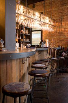 ABOVE BAR GLASS RACK - BRASS RECLAIMED WOOD BAR - VERTICAL PLACEMENT. The Castello Plan | Brooklyn