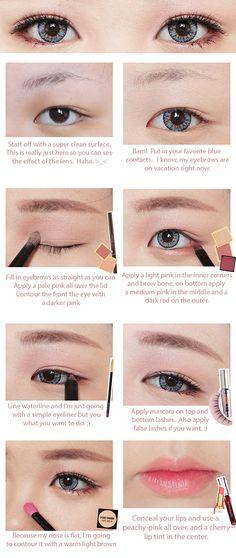 Korean Big Eye Circle Lenses: Korean Skin Care & Makeup - More in www.uniqso.com: Red Velvet Ice Cream Makeup Tutorial with ICK Gaudy Blue & Brown Long Wig
