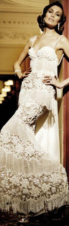 Sheath Wedding Dress : Picture Description Zuhair Murad Glamorous Vintage Inspired Bridal Gown, Bridal Dress, Wedding ideas for the vintage bride, Vestidos Fashion, Dress Vestidos, Glamorous Evening Dresses, Evening Gowns, Couture Mode, Couture Fashion, Gowns Couture, Paris Fashion, Women's Fashion