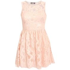 Lara Large Flower Lace Skater Dress in Pink ❤ liked on Polyvore