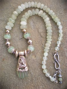 Jade Flower Peace Amulet Necklace by maggiezees on Etsy