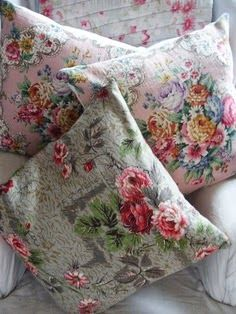 Cushions for my aqua boudoir sofa! Granny Chic, Painted Boxes, Linens And Lace, Ottoman, Vintage Textiles, Cottage Chic, Cushion Covers, Floral Cushions, Scatter Cushions