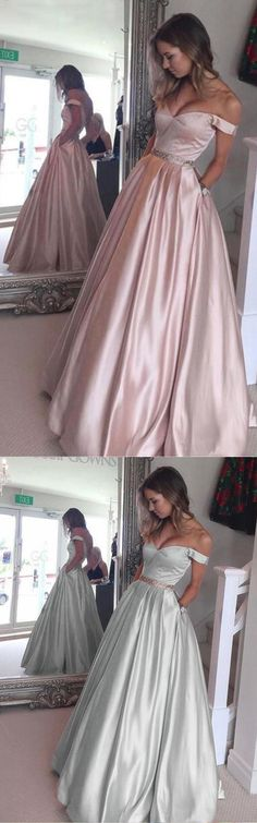 Honorable Off the Shoulder Floor Length Pearl Pink Prom Dress with Beading  prom,prom dresses,prom dress,fashion,2017 prom dress