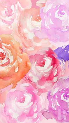 Pink orange lavender watercolour Peonies iphone phone wallpaper background lockscreen