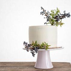 "Modern, minimal pedestal stand by Napa artist Amanda Wright Pottery    9"" glossy pink - $110 | cakebloom.com"