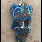 Tiered Blue Five Heart Necklace Aluminum Wire Jewelry, Black Jewelry, Steampunk, Coin Purse, Purses, Heart, Blue, Fantasy, Jewerly