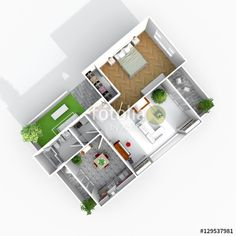 3d interior rendering rotated view of furnished home apartment
