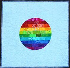 quilt card inspiration ... mini-quilt from Between Quilts: Rainbow Spotlight ...