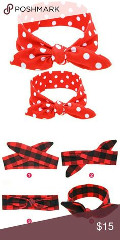 New red polka dot mommy and me headbands You will be receiving one adult sized bunny ears headband and one baby/toddler sized headband. Made from cotton.  Picture 2 shows how to tie it.  Baby fits 0-4 years  Adult fits 4 years and up Accessories Hair Accessories