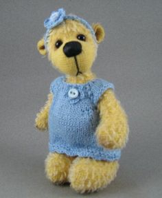Artist collectable sunshine yellow mohair jointed bear with handknitted dress and headband.  www.bearsbytracey.com